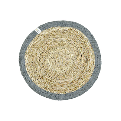 ReSpiin Round Seagrass & Jute Table Mat - Natural/Grey