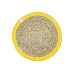 ReSpiin Round Seagrass & Jute Table Mat - Natural/Yellow