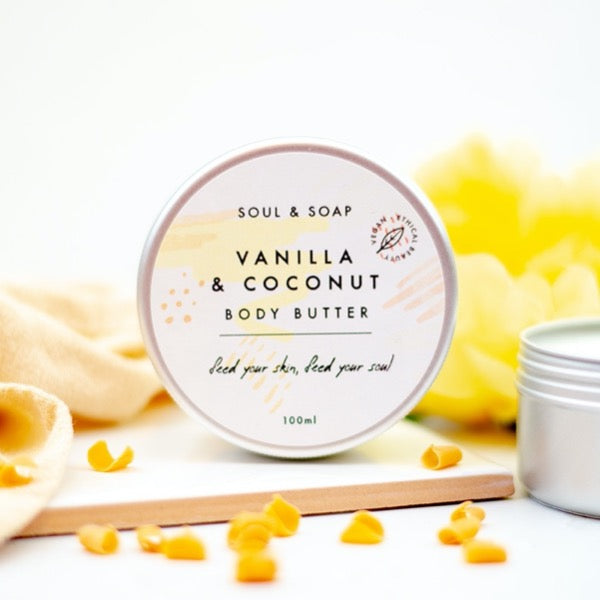 plastic free body butter in a tin soul and soap vanilla and coconut