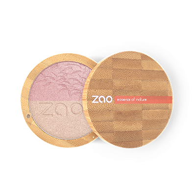 Zao Refillable Vegan Shine Up Powder Duo Pink and Gold