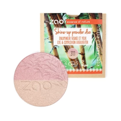 Zao Vegan Shine Up Powder REFILL Duo Pink and Gold