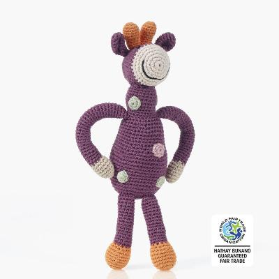 Fair Trade Organic Cotton Giraffe Rattle | Pebble