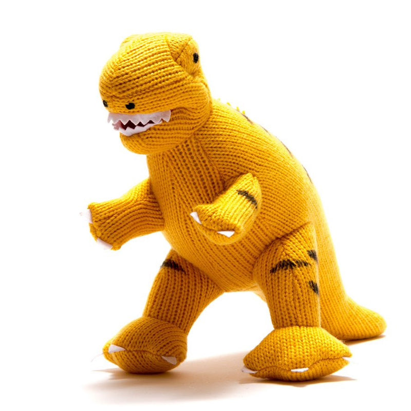 yellow knitted dinosaur t rex toy