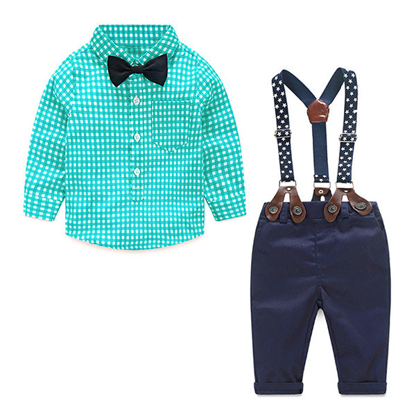 Infant Gentleman Suit - Plaid Shirt & Bow Tie & Suspender Trousers (More Colors)