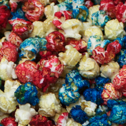 colored popcorn, red white and blue popcorn,