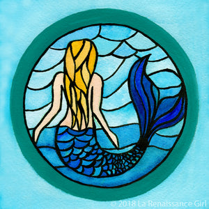 Stained Glass Mermaid (Giclée Print)