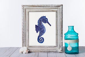 Indigo Seahorse - Watercolor Print (multiple sizes)