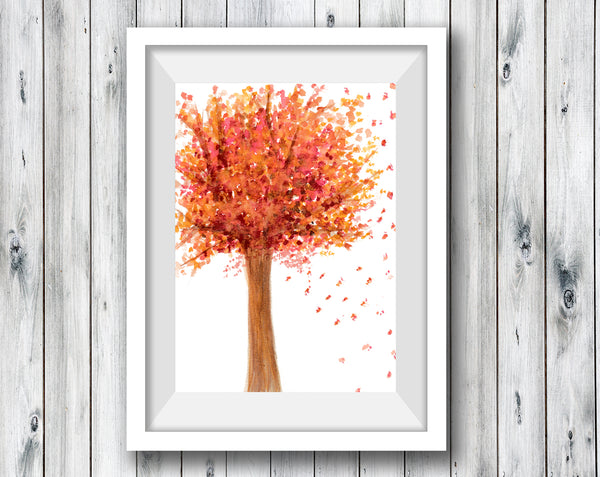 Autumn Tree - Watercolor Print (5X7)