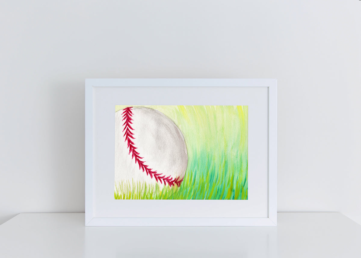 Baseball In Grass - Watercolor Print (5X7)