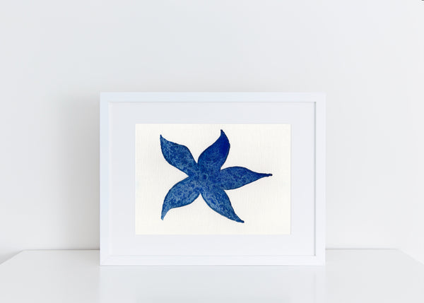 Blue Starfish - Watercolor Print (multiple sizes)