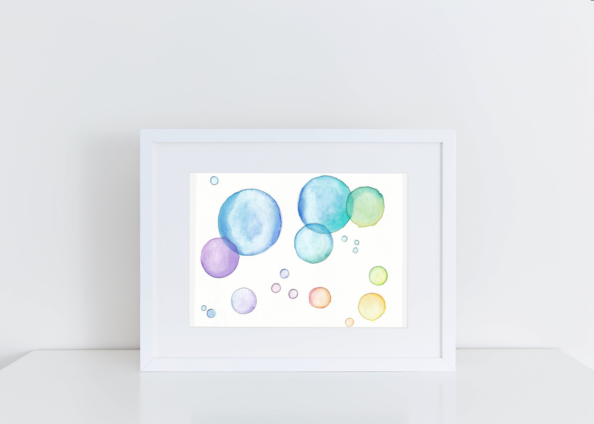 Rainbow Bubbles - Watercolor Print (5X7)