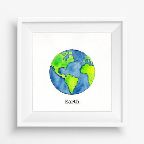 Planet Earth - Watercolor Print (5X5)