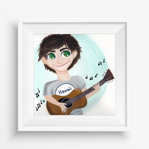 Guitar Boy - LIMITED EDITION Gouache Print (8X8)