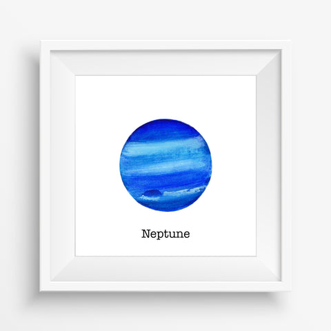 Planet Neptune - Watercolor Print (5X5)