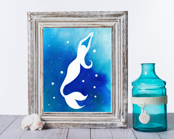 Saltwater Mermaid II - Watercolor Print (multiple sizes)