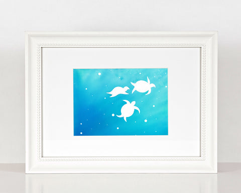 Sea Turtles - Watercolor Print (8X10)