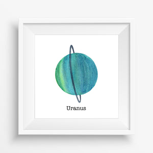 Planet Uranus - Watercolor Print (5X5)