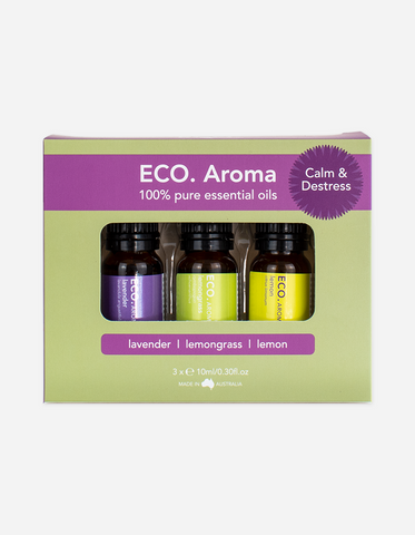 Eco Aroma - Calm & Destress Trio Essential Oil Blend 30ml