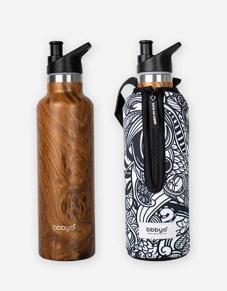bbbyo Thermal Traveller Bottle & Carry Cover - 750ml - Wood Koru