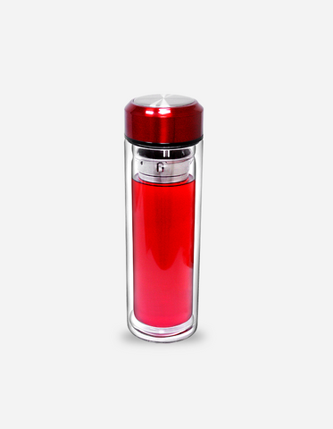 Ito Red Double Wall Glass Bottle 420ml (with filter)