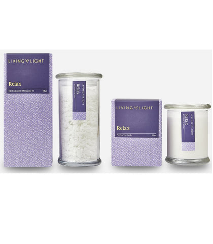 Relax - Candle With Bath Crystals Bundle