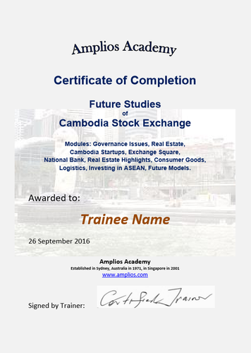 Topic 70 E-Learning - Program for Cambodia Stock Exchange