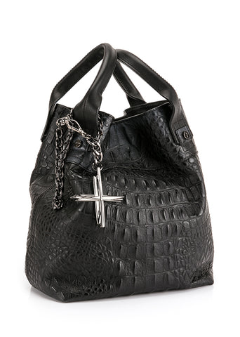 HAVANA & CO.  BLACK BAG TOTE-S-COW-LH-BLK