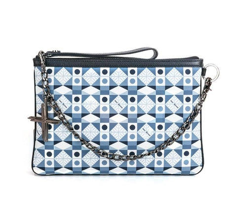 HAVANA & CO.  MULTICOLOR BAG P2-POUCH-S-COWLH-BLUE