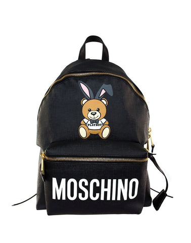 Moschino Playboy Bear Leather Backpack BAG do-7632-8210-1555