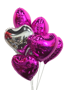 Bundle of Dark Pink/Silver Hearts