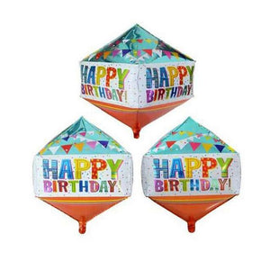 Happy Birthday Cube Balloon (White Base)