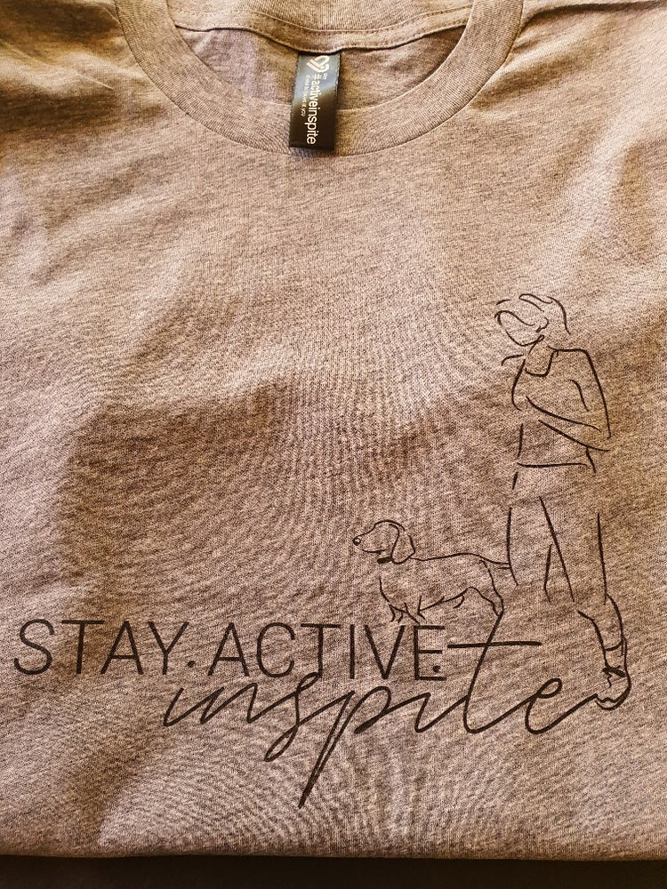 Walking the dog - Stay Activeinspite T Shirt - activeinspite - activewear - yoga wear - active wear - leggings - crop top - squat proof - australian made - gym leggings