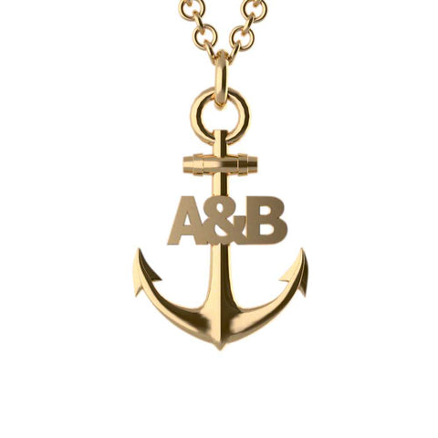 Anchor Couples Initial Pendant