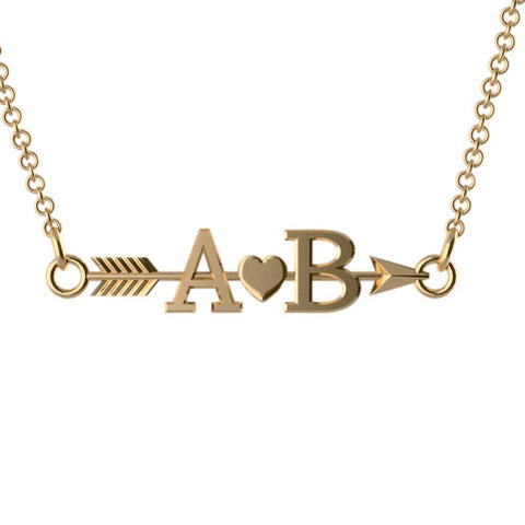 Arrow Couples Initial Pendant