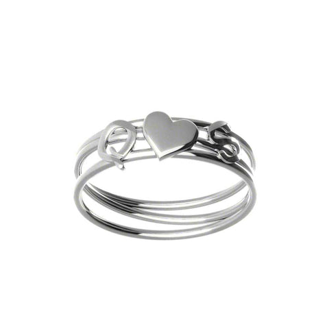 Couples Heart Initials Ring