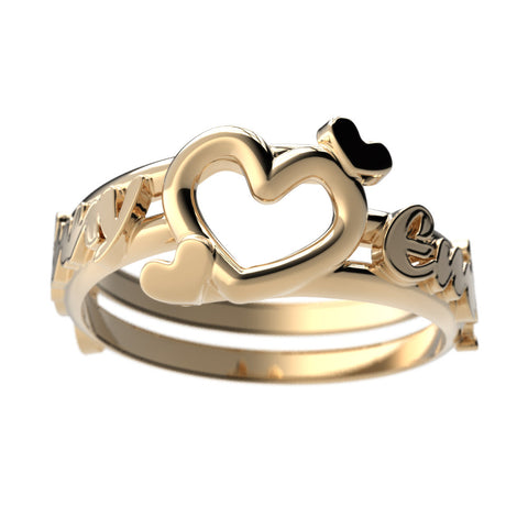 Couples Heart Name Ring