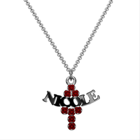 Cross Birthstone Name Necklace
