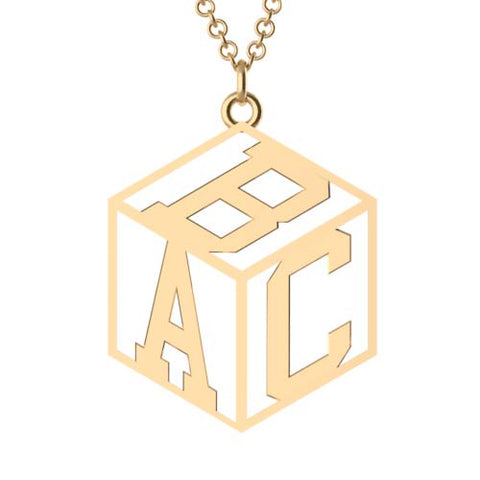 Cube Monogram Necklace