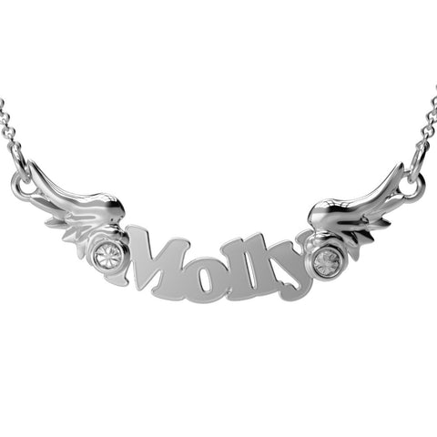 Cute Wings Birthstone Name Pendant