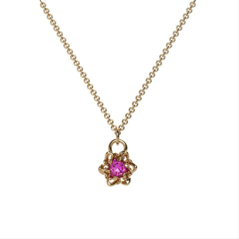 Flower Charm Birthstone Necklace