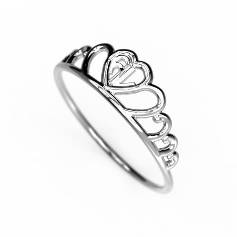 Heart Curve Monogram Ring