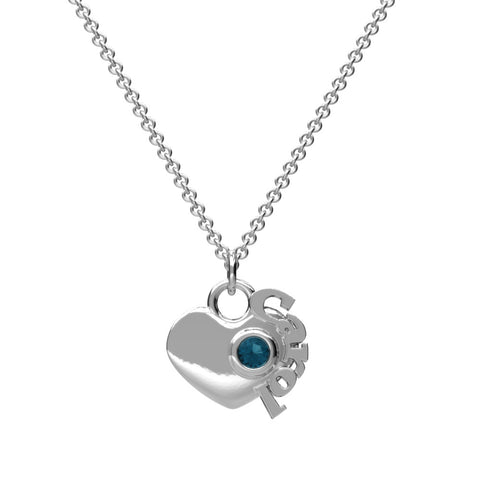 Heart Birthstone Name Necklace