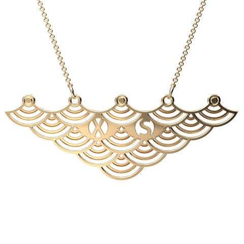 Japanese Wave 2 Initial Necklace
