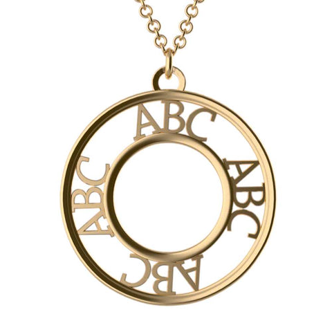 Roman Dial Monogram Necklace