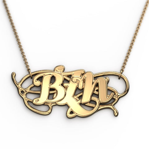 Wave Monogram Necklace