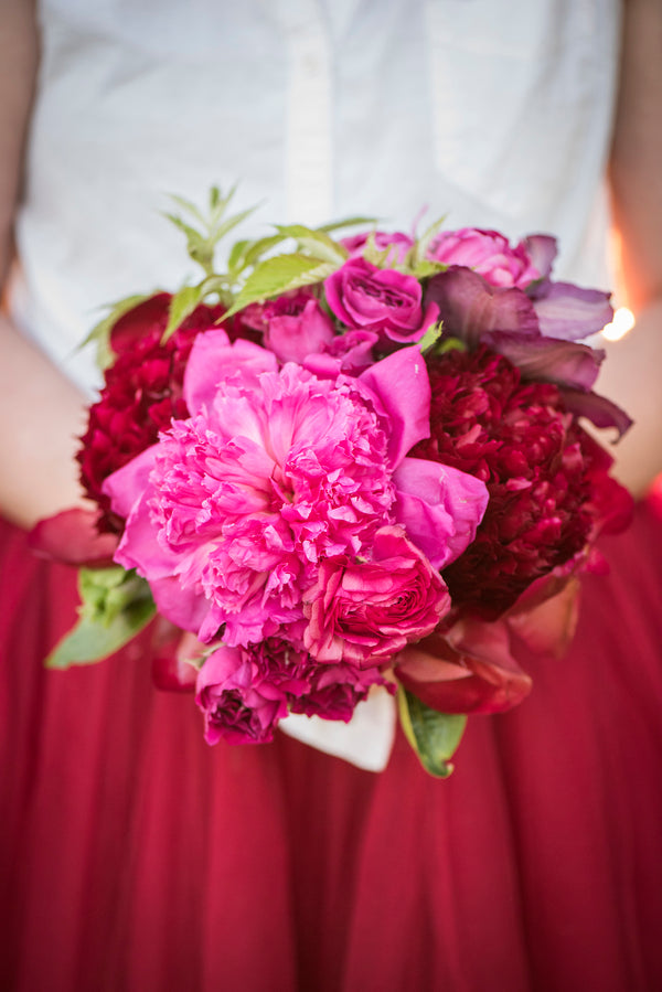 Burgundy Tulle Skirt and Flowers