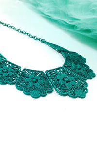 Green Lace Bib Statement Necklace - C'est Ça New York