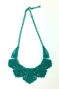Green Lace Bib Statement Necklace