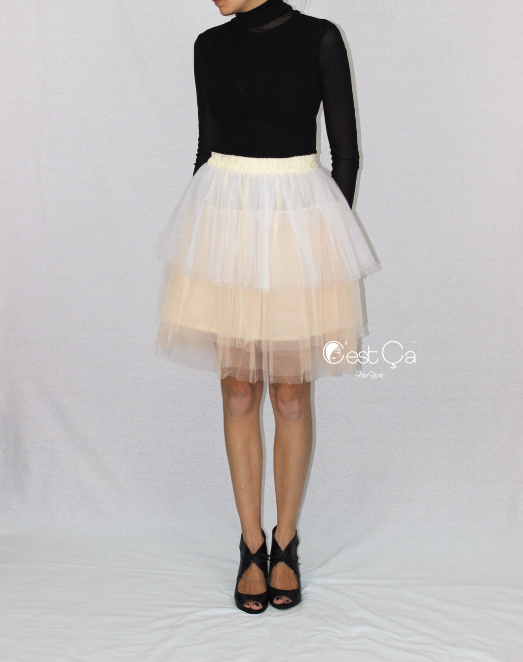 Camila Ombre Tiered Tulle Skirt (Champagne and White) - C'est Ça New York