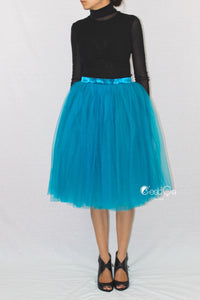 Colette Teal Soft Tulle Skirt - Midi - C'est Ça New York
